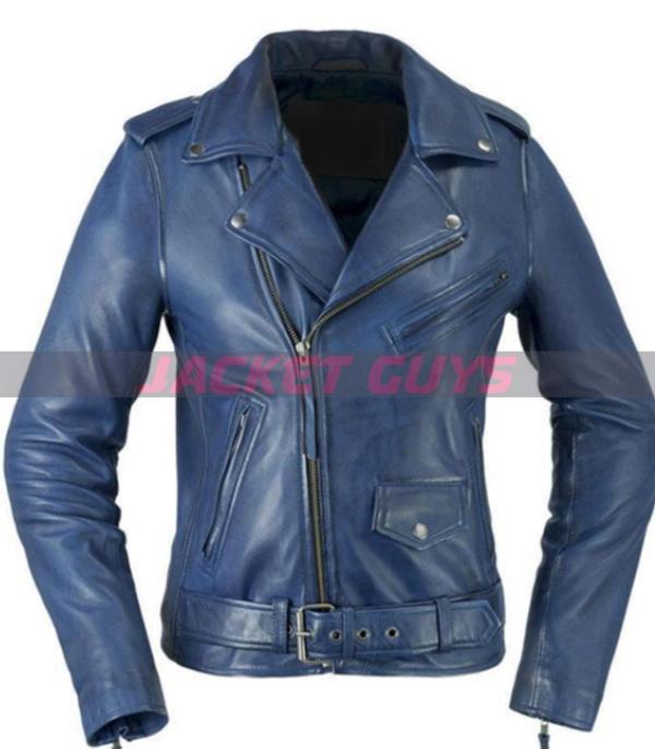 women blue leather jacket buy now