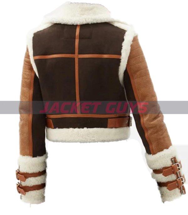 get now ladies aviator leather jacket