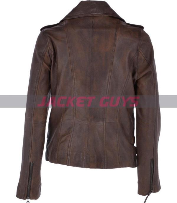 on sale ladies brown biker leather jacket