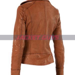 buy now ladies tan brown distress leather jacket