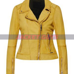 ladies yellow distress leather jacket on sale