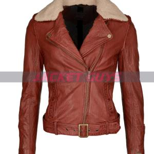 buy now women shearling distress leather jacket