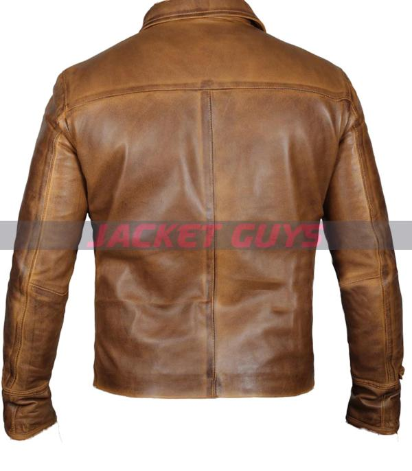 on discount men light brown leather jacket