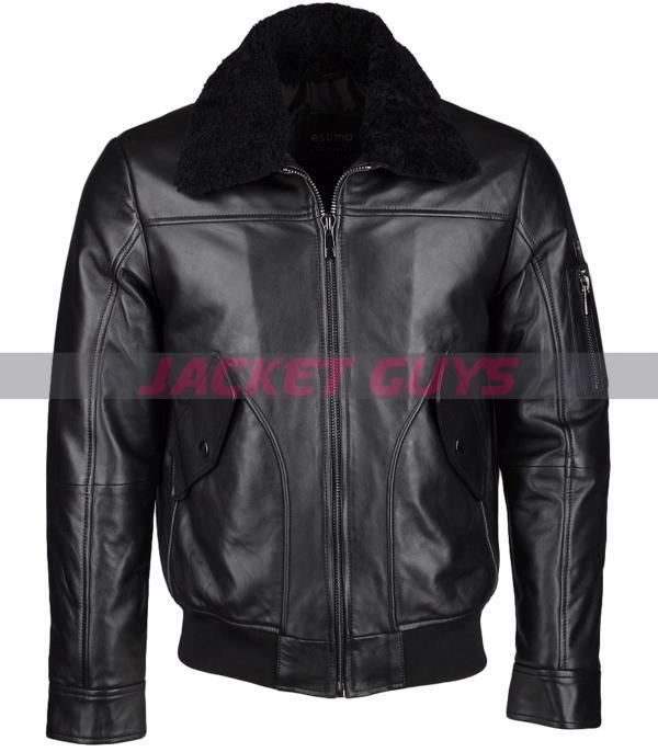 men black shearling leather jacket buy now