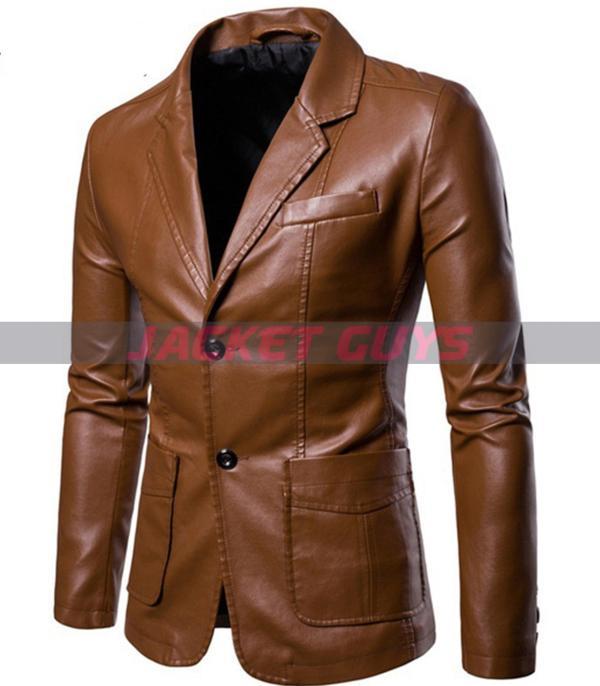 men brown blazer leather jacket on sale