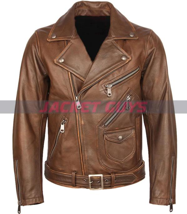 men brown distress biker leather jacket on sale