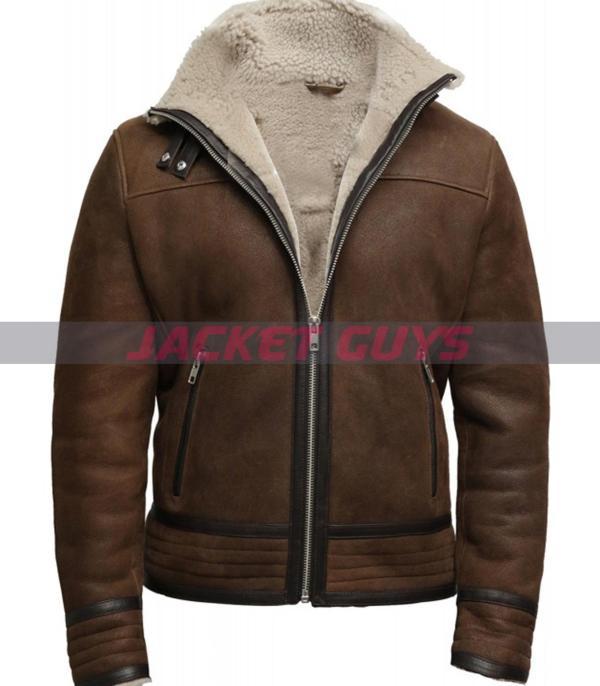 men brown fur leather coat on sale