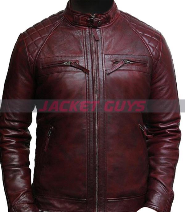 buy now men distress maroon leather jacket
