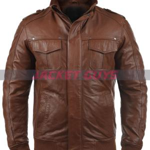 buy now men dark brown leather jacket