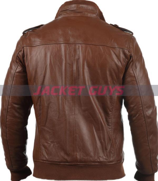 on sale men dark brown leather jacket