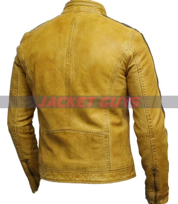 for sale men distress yellow leather jacket on sale
