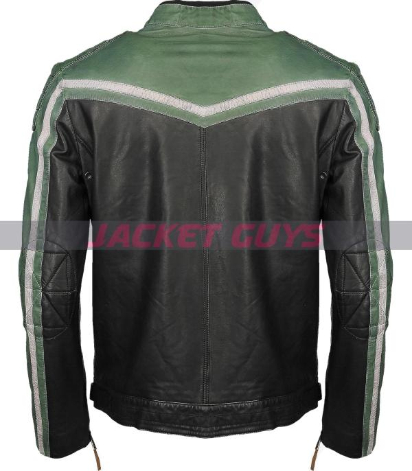 shop now men green white leather jacket