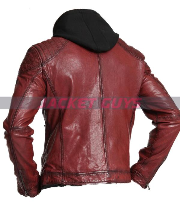 men red hood distress leather jacket on discount
