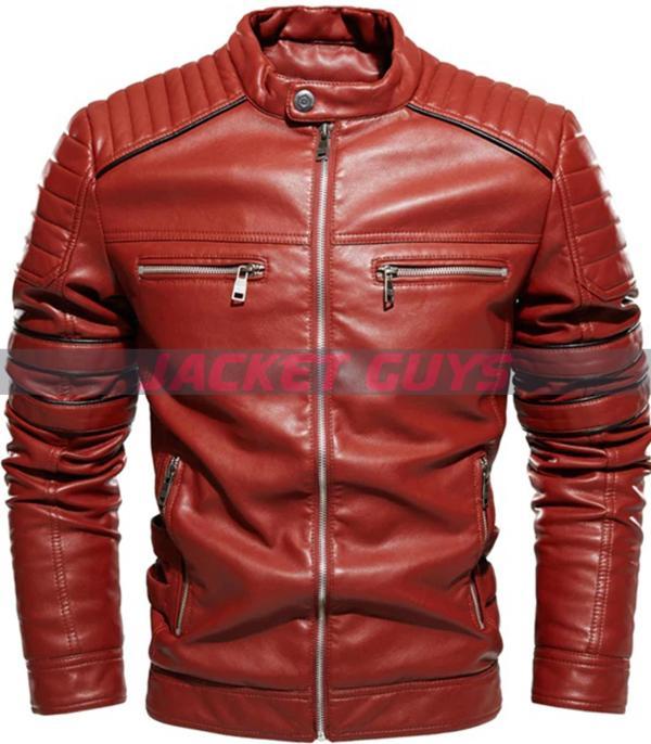 buy now men red stripe leather jacket on sale