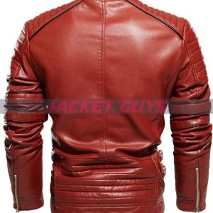on discount men red stripe leather jacket on sale