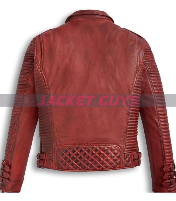men red burnt leather jacket on sale