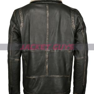 buy now men shearling collar leather jacket