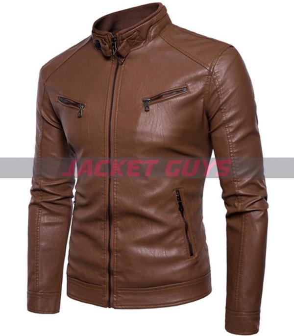 men slim fit brown biker leather jacket on sale