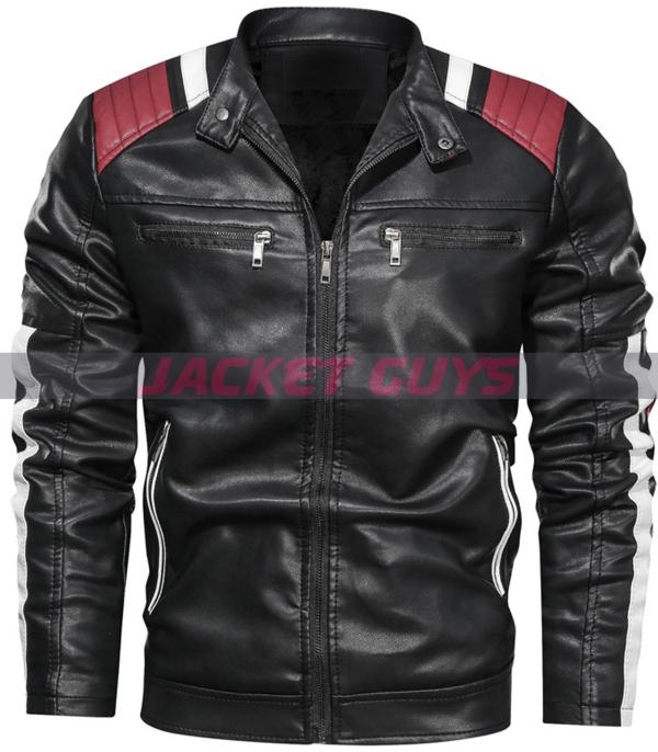 men strip leather jacket on sale