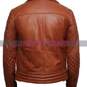 shop now men tan brown biker leather jacket on sale