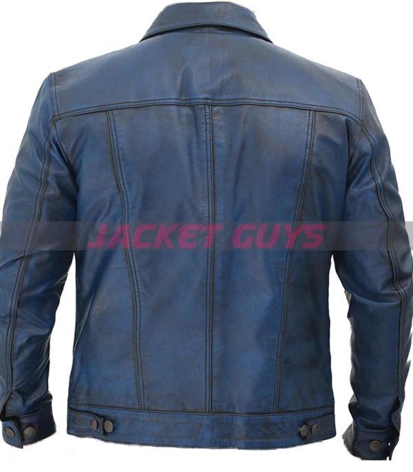 men trucker distress blue leather jacket buy now