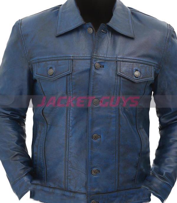 for sale men trucker distress blue leather jacket