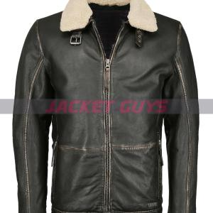 men shearling collar leather jacket on sale
