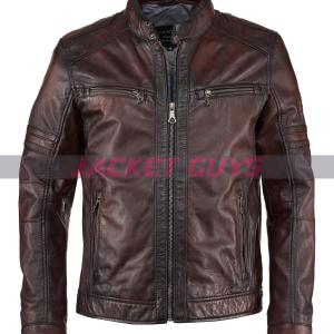 mens brown distressed leather jacket on sale