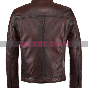 mens brown distressed leather jacket shop now