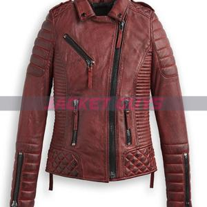 women red burnt leather jacket on sale