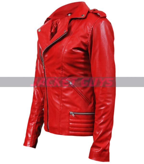 women south side red leather jacket on sale