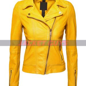 women yellow leather jacket purchase now