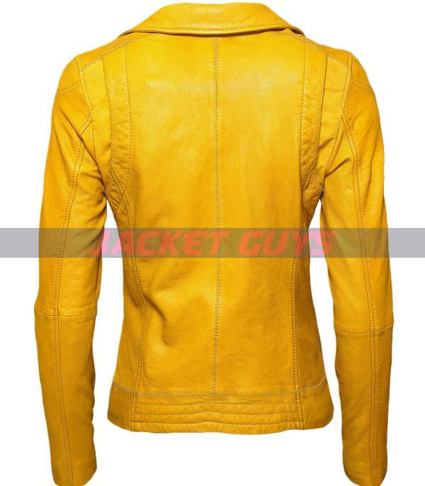 women yellow leather jacket on sale
