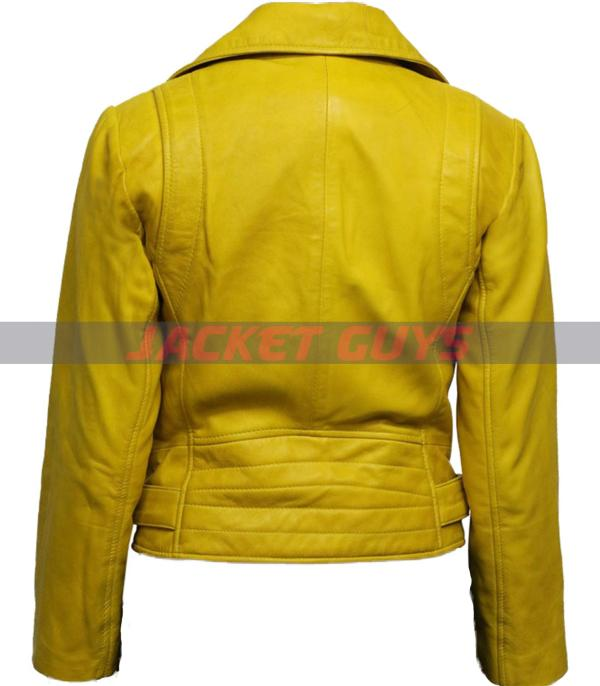 buy now women yellow leather jacket