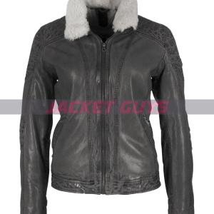 on discount grey leather jacket women
