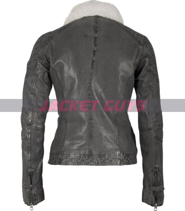 grey leather jacket women get now