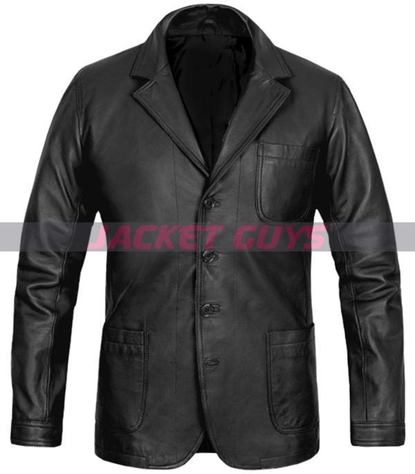 daniel craig black leather blazer for sale