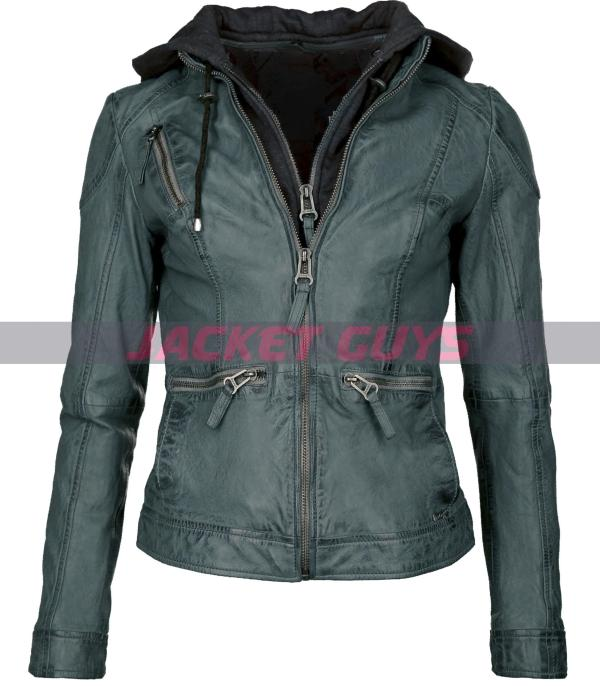 dark green hooded leather jacket women buy now