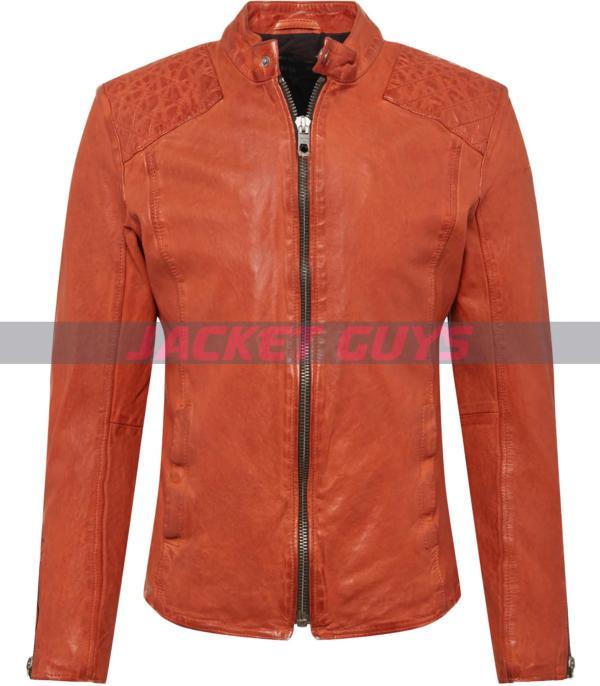 mens orange leather jacket on sale