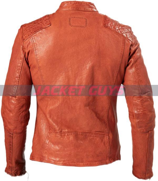 mens orange leather jacket buy now