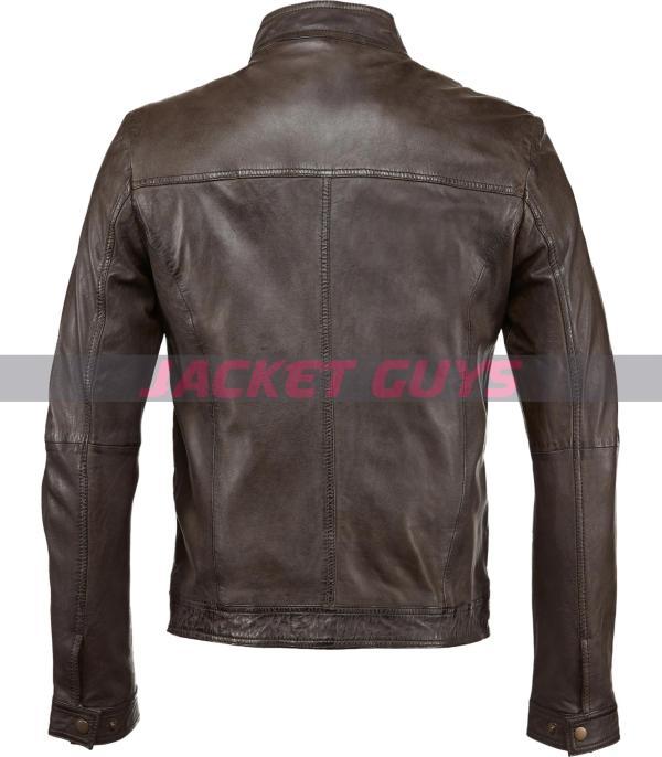 get now mens dark brown leather jacket