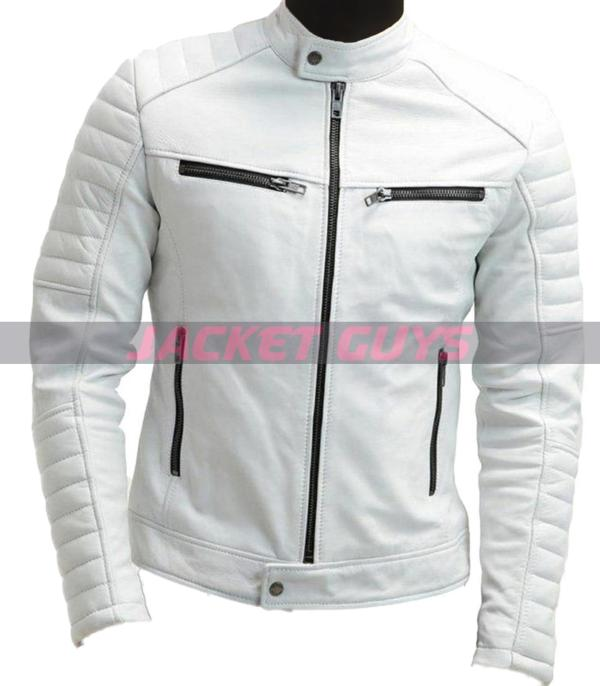 mens white leather jacket on sale