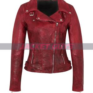 red distress leather jacket for women on sale