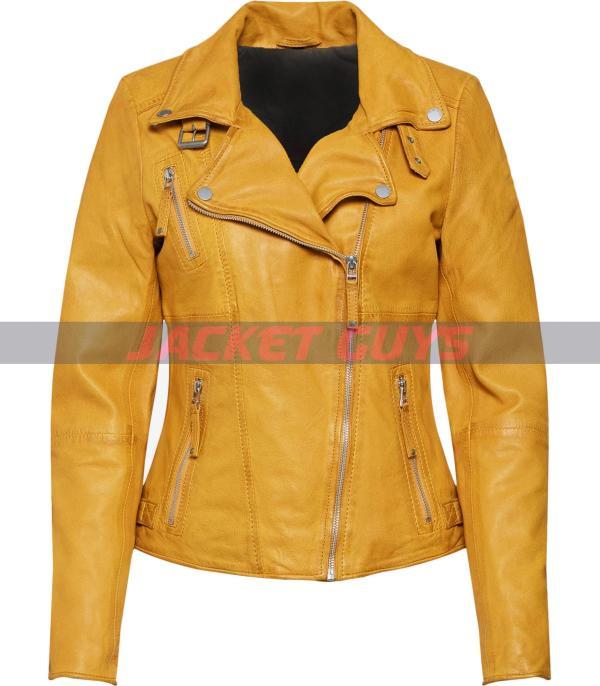 on sale women yellow leather jacket