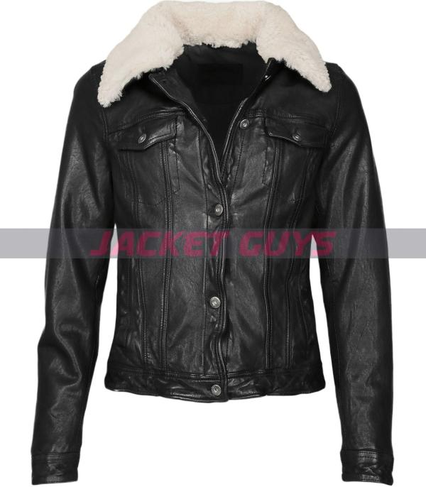 womens black aviator leather jacket on sale