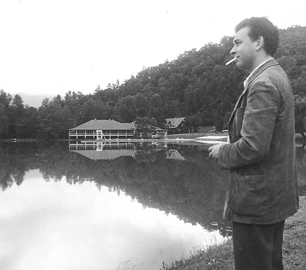 Black Mountain College dining hall with Lake Eden and Basil King, 1961