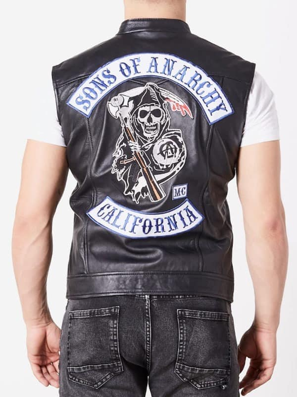 sons of anarchy leather vest with patches for sale