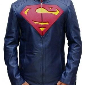 Men's Superman Man Of Steel Blue Leather Jacket