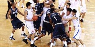 Bayi Rockets Chinese Basketball Team brawl against Georgetown Hoyas
