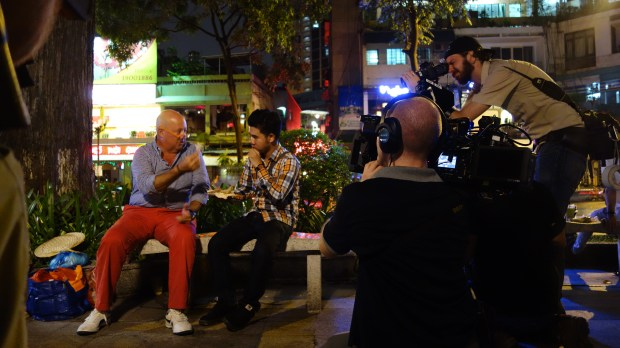 Kyle Le with Bizarre Foods Andrew Zimmern